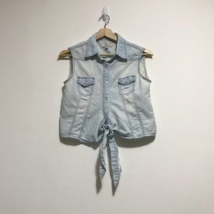 Tops - Denim Sleeveless Crop Tie-Front Button-Up